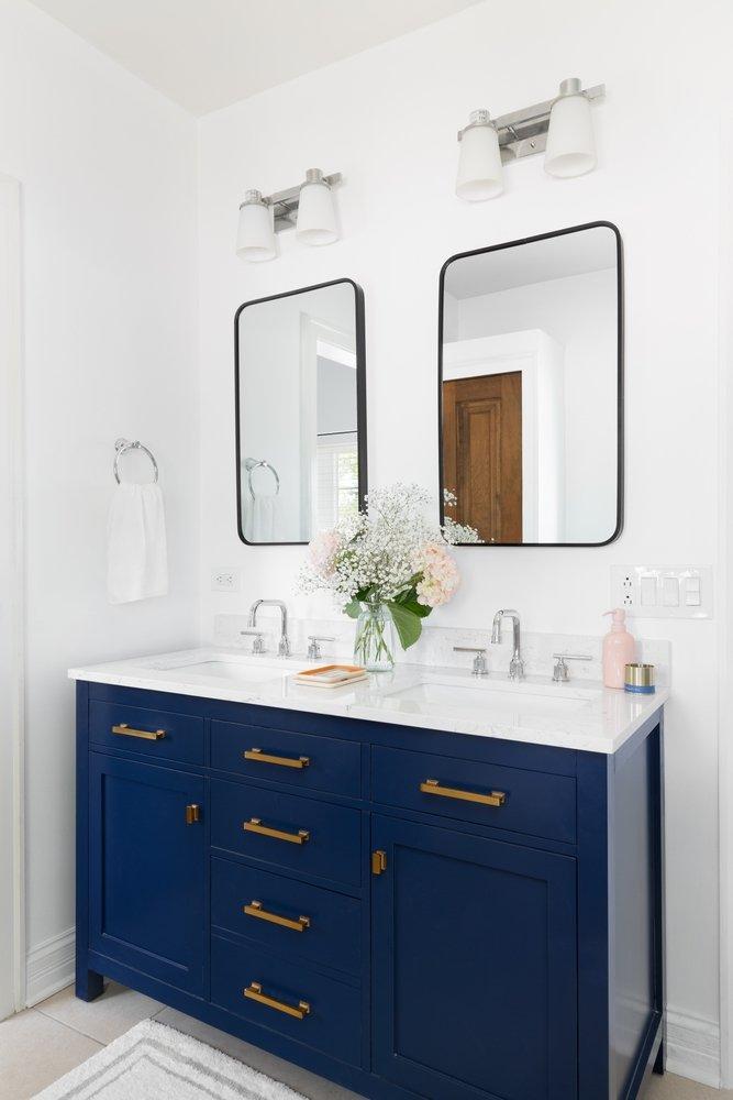 modern bathroom vanity painted navy blue